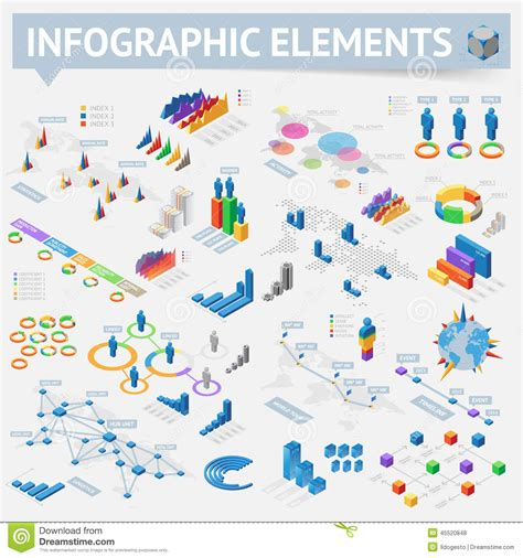 map design elements vector set of isometric infographics design elements stock vector
