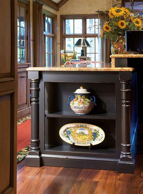 kitchen island  open  shelves moldings