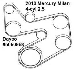 mercury milan 4 cyl 2 5 liter serpentine belt diagram