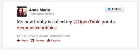 tweet of the week opentable dining rewards points lead to