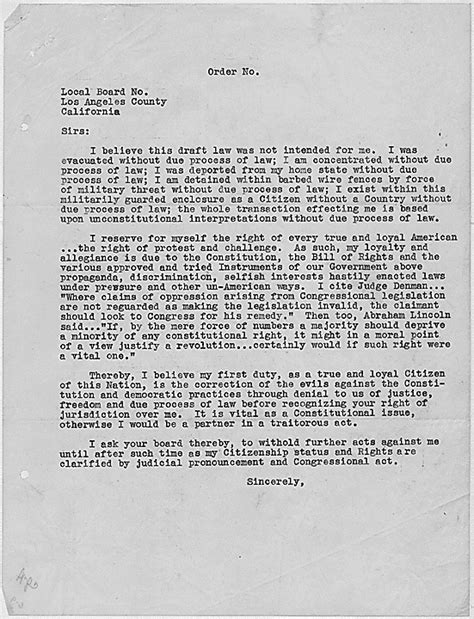 Recommendation Letter In Japanese A Wwii Era Protest Letter Sent By Japanese American Internees Resisting The Draft Veterans
