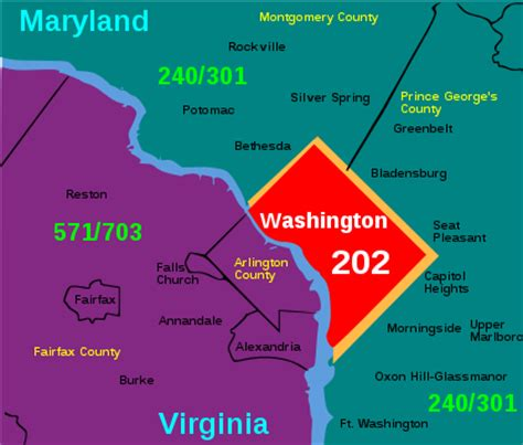 washington dc lata map area code 202