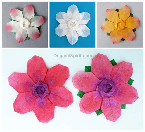 How To Make Paper Flower Petals - six petal origami flower or origami snowflake