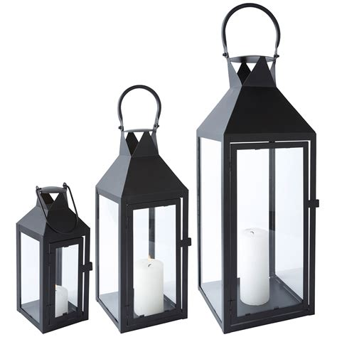 Glass Lantern Candle Holder by Lantern Metal Black Glass With Door Metal Lantern Garden