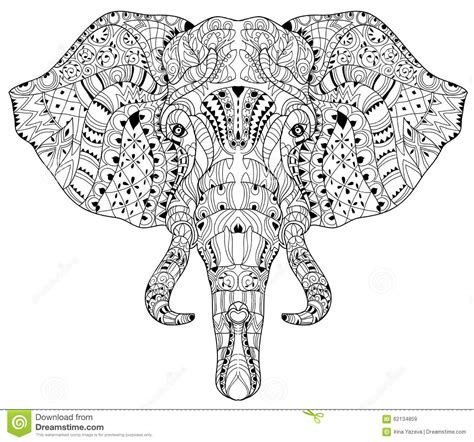pattern elephant head drawing elephant head doodle on white vector sketch stock vector