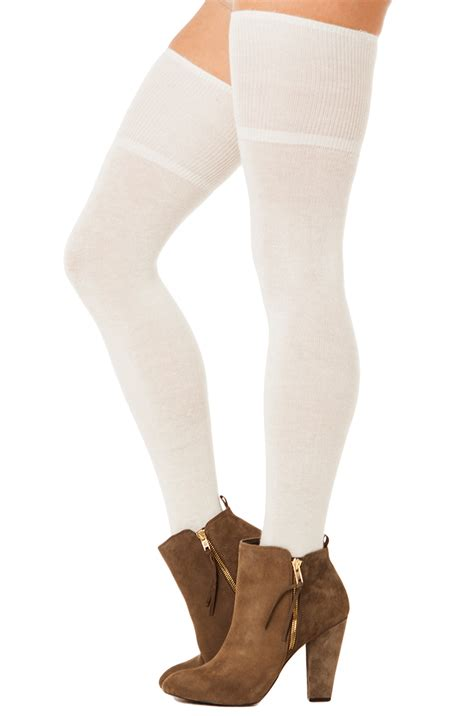 In High Cotton lyst thigh high cotton socks in ivory in white