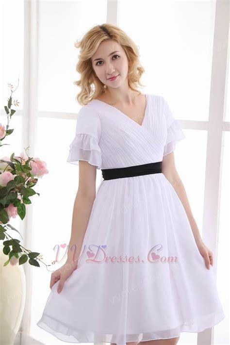 black belt sleeves white dress for prom 100