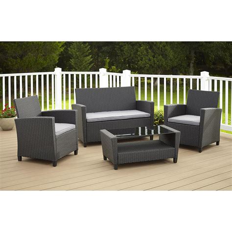 Cosco Malmo 4 Piece Black Resin Wicker Patio Conversation Gray Wicker Patio Furniture