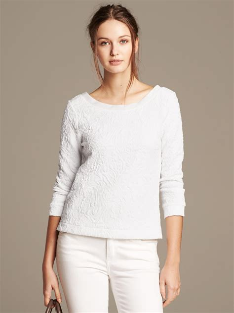 Scoop Back Tops by Banana Republic Scoop Back Jacquard Top In White Lyst