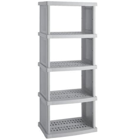 20 inch wide shelves suncast 5 shelf 30 in w x 72 in h x 20 in d plastic shelving unit c7305g the home depot