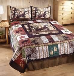 whitetail lodge king quilt set cabin lodge moose