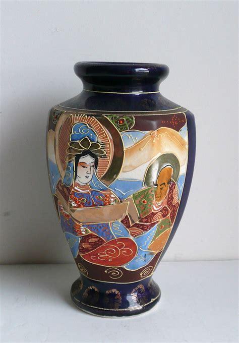 Satsuma Vases Vintage Hand Painted Japanese Blue Satsuma Vase Ebay