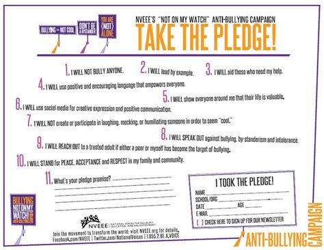 Nomw Anti Bullying Pledge Feel Free To Sign It Here Or Online At Nveee Org Nveee Teens At Anti Bullying Contract Template