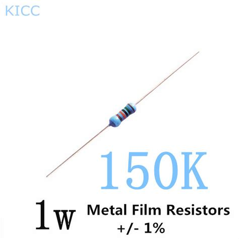 resistor color code 150 ohm aliexpress buy 1w 150k ohm 1 metal resistor 1w 150k color ring resistors 50pcs lot