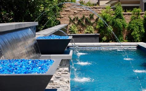 aquanetic pools and spas custom waterfall pool water