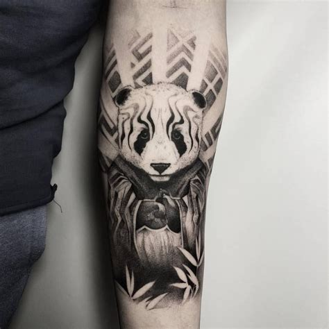 creative designs tattoo bw panda idea on the forearm tattoos design
