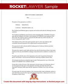 Debt settlement agreement form letter with sample