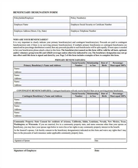 beneficiary release form beneficiary receipt and release form