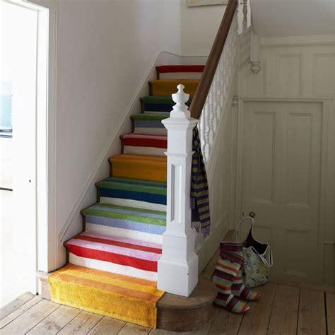 modern hallway with stripy stairs hallway ideas hallway image housetohome co uk