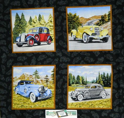 Patchwork Panels - patchwork quilting sewing fabric classic cars vintage
