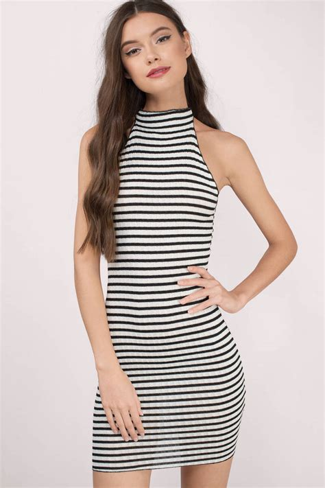 Striped Dress black white day dress black dress high neck dress