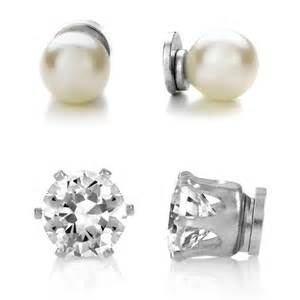 magnetic stud earrings 8mm imitation pearl and 8mm cz magnetic stud earring set