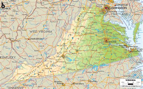 virginia on a map of the usa physical map of virginia ezilon maps