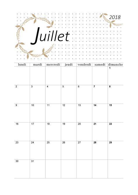 Calendrier De Juillet Calendrier Juillet 2018 224 Imprimer Calendriers