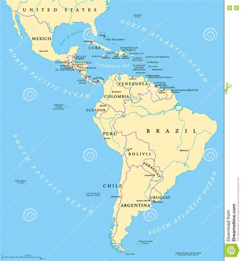 map of south america including mexico america political map stock vector illustration