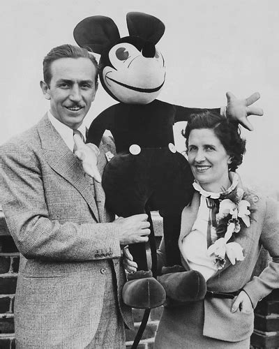 Walt Disney and his Wife with a Model of Mickey Mouse