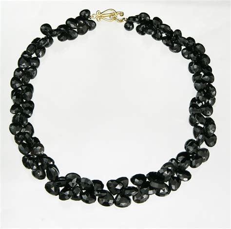 black onyx bead necklace robin rotenier black onyx faceted bead necklace 03 02 07