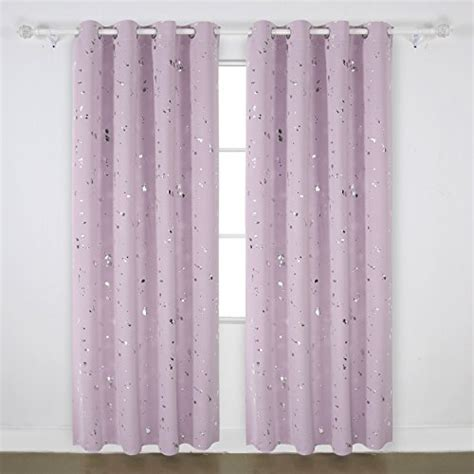 Light Pink Blackout Curtains Deconovo Fashion Silver Dots Foil Printed On Light Pink Thermal Insulated Blackout Grommet
