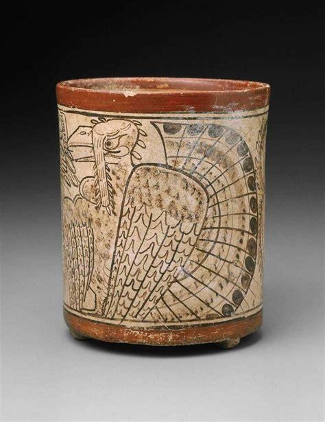 mayan codex style cylinder vase with turkey 680 750