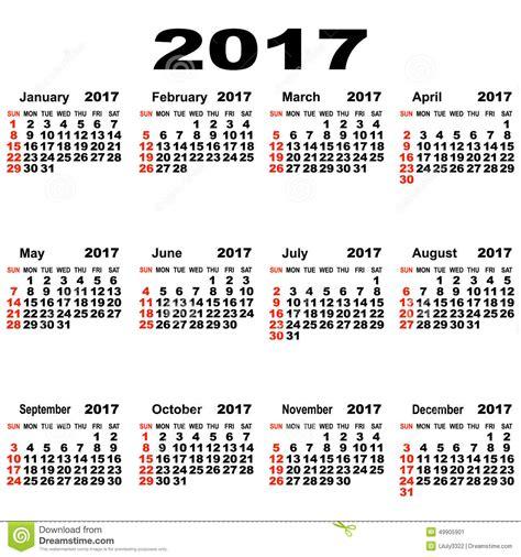 Plánovací Kalendář Na Rok 2018 European Calendar Of 2017 Stock Photo Image 49905901