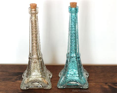 Glass Eiffel Tower Vase by Gold Glitter Eiffel Tower Glass Bottle Vase By Iheartokieart