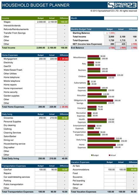 household budget planner  budget spreadsheet  excel