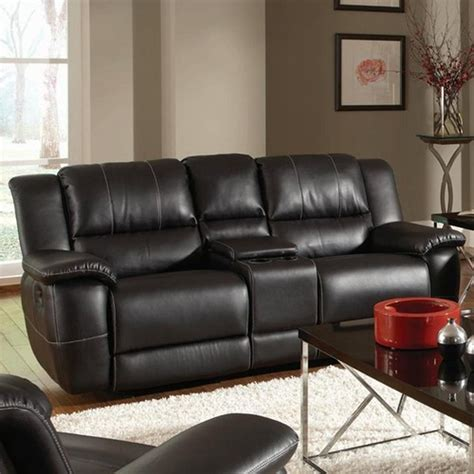 black leather reclining sofa and loveseat coaster 601062 black leather reclining loveseat steal a