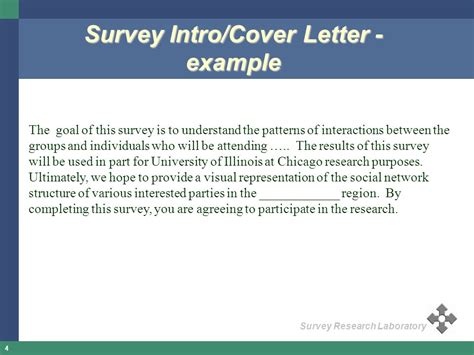 Research Questionnaire Cover Letter Exle Questionnaire Design Clinic Ppt
