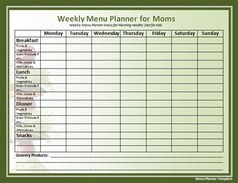 Menu Planning Template weekly menu template new calendar template site