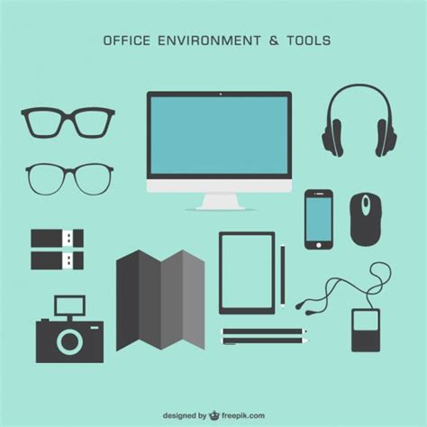 office drawing tools office environment and tools vector free