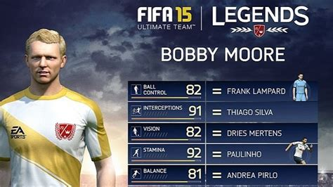 match incredible stats and fifa 15 ultimate team legends reveals bobby moore and some incredible stats softpedia