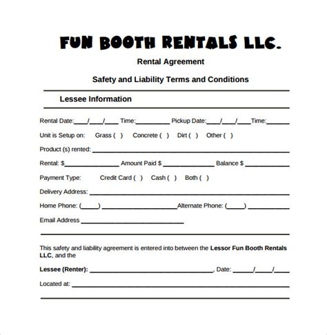 8 Booth Rental Agreement Templates Sles Exles Format Sle Templates Photo Contract Template