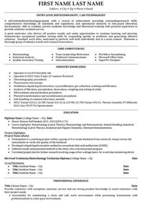 Biotechnology Technician Sle Resume by Top Biotechnology Resume Templates Sles