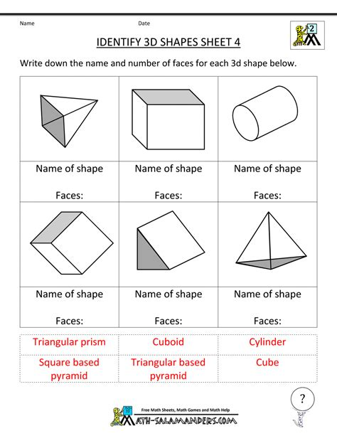 printable math worksheets shapes 3d shapes worksheets