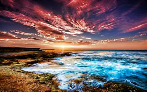 wallpapers beach colorful colorful sky on the beach wallpaper 445926