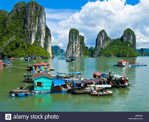 houseboat vietnam floating houseboat village community halong bay vietnam