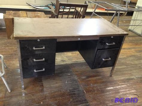 Vintage Metal Office Desk Vintage Metal Office Desk Lowry Consignments 8 K Bid