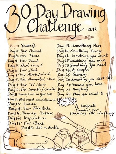 1 Drawing A Day by 30 Day Drawing Challenge Has Started And Will Be