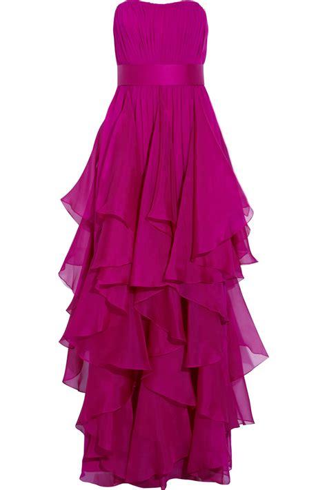 Marchesa Silk Chiffon Gown by Notte By Marchesa Strapless Silk Chiffon Gown In Purple