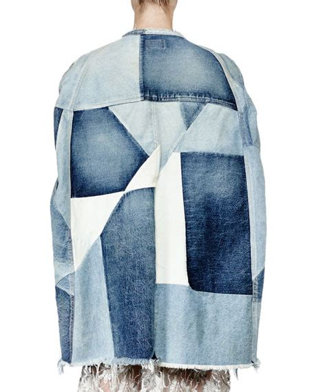 Patchwork Denim - laurent patchwork denim cape jacket